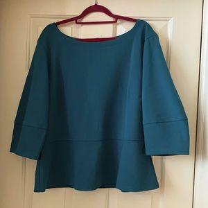 ANTHROPOLOGIE teal top, peplum-zipper-3/4 sleeve